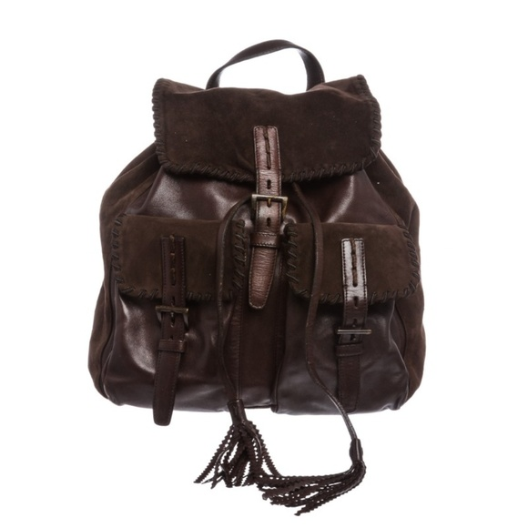 f3342e2fd96a Prada Bags | Brown Suede Leather Drawstring Backpack | Poshmark